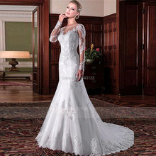 2020 תחרת אפליקציות בת ים שמלות כלה אשליה צוואר מלא שרוולי שמלות כלה לחצני אשליה ללא משענת Vestido דה Noiva