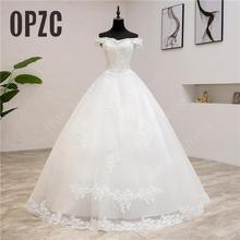 Real Photo New Arrival Korean Lace Applique Wedding Dress 2019 Boat Neck off Shoulder Plus Size Bridal Dress Princess Wedding 70