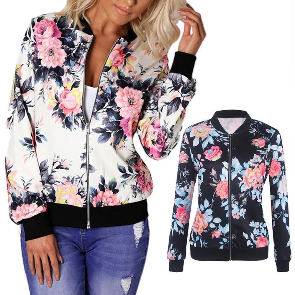 Retro Floral Printed Coat Zipper Bomber Collar Jacket Women Vintage Soft Long Sleeve Loose Casual Girls Outwear Dropshipping