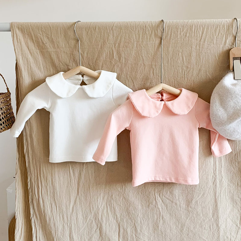 MILANCEL 2021 Spring Newborn Baby Clothes Turn-down Collar Toddler Girls Blouse Solid Cotton Baby Base Shirt Long Sleeve