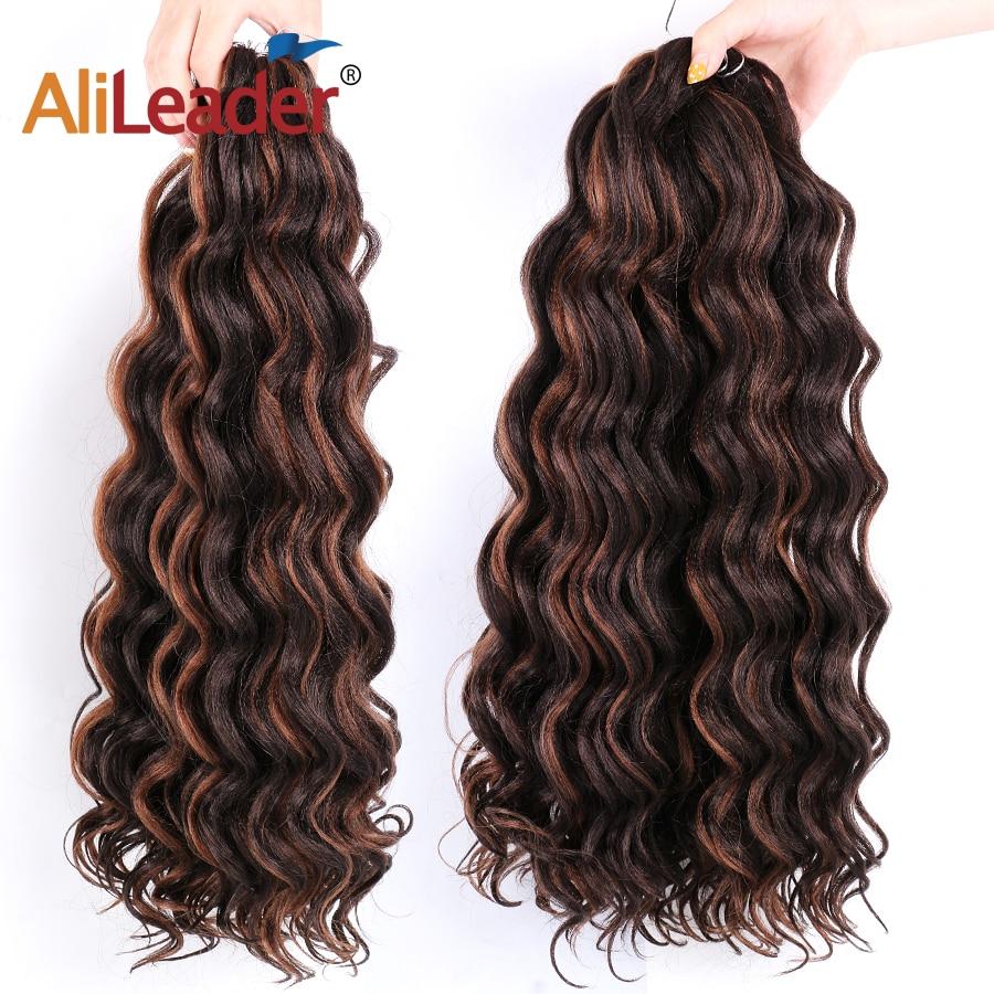 Leeons-extensiones de cabello de ganchillo con ondas al agua, cabello sintético ondulado con agua, cabello trenzado de 20 pulgadas