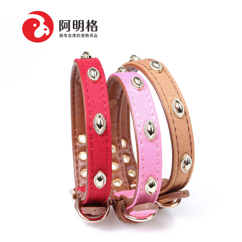Amin Lattice New Style Origional Pet Collar Dog Pu Neck Ring Pet Supplies