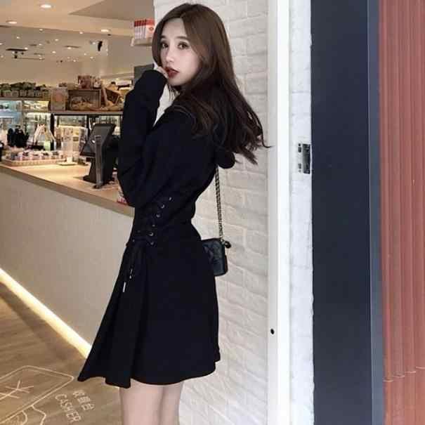 Felpa Vestito Femminile Manica Lunga Fasciatura Mini Nero Vestiti Con Cappuccio Delle Donne di Modo Coreano 2020 Autunno AE553