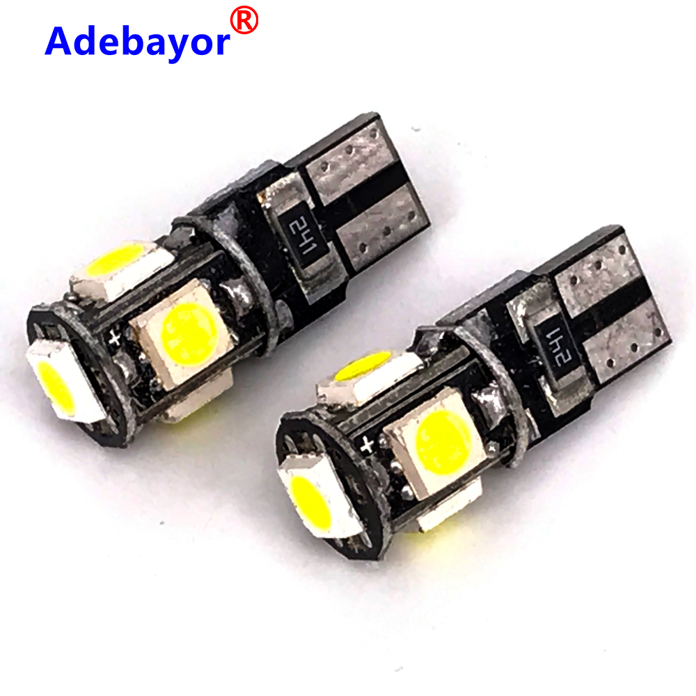 White <font><b>100pcs</b></font> LED <font><b>Canbus</b></font> <font><b>T10</b></font> W5W 194 168 5050 Car Light Bulb 5 SMD Chips Wedge Bulbs Car Interior Reading Signal Lamp image