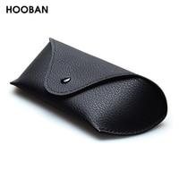 HOOBAN-estuche de lujo para gafas de sol con cremallera, estuche protector de cuero PU negro de alta calidad, EVA