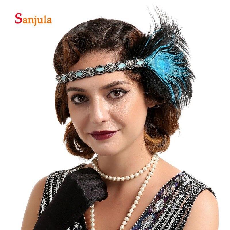 Кристаллы, синие перья, головной убор для маскарада, винтажный женский головной убор для выступлений, выпускного вечера, вечерние головные