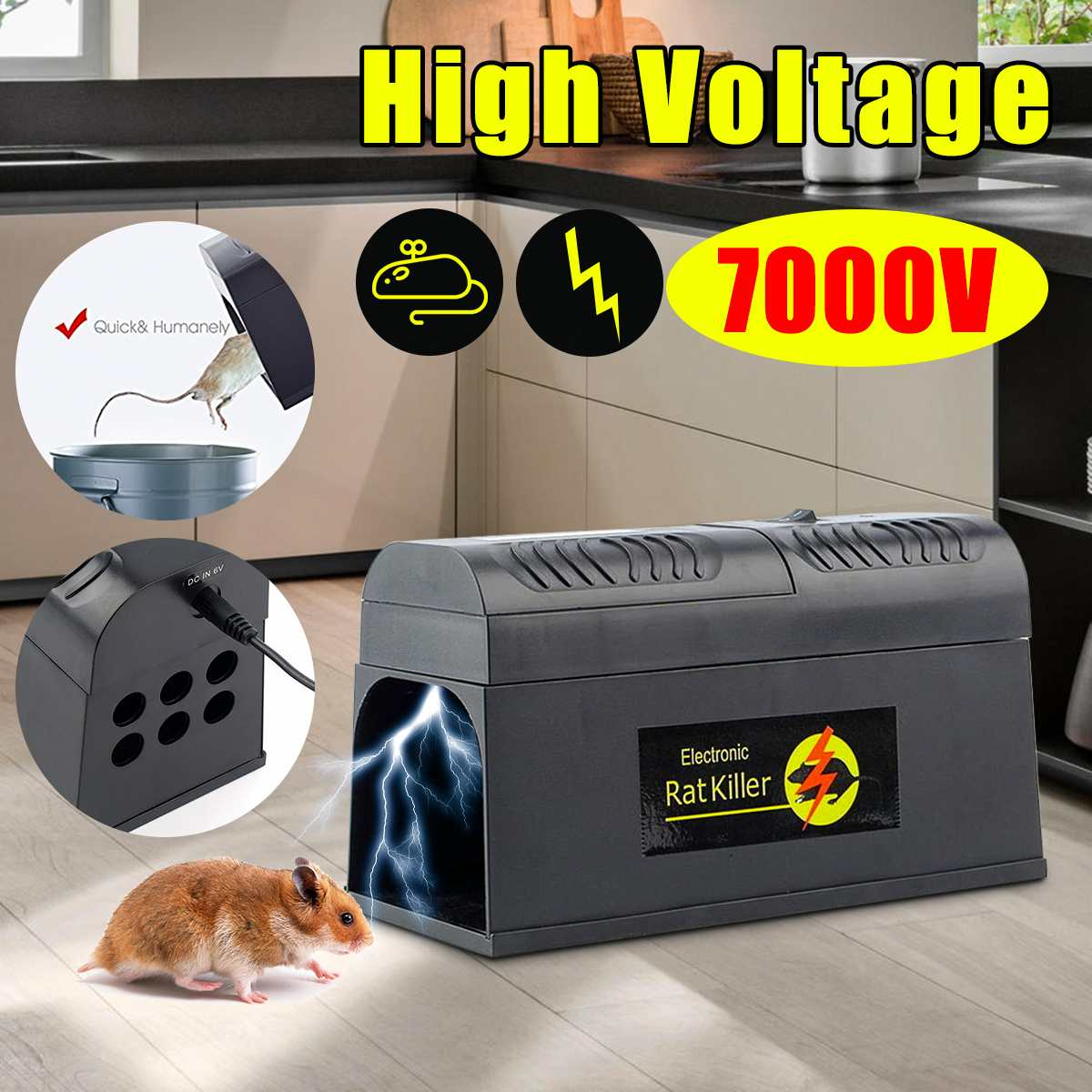 US/UK/EU Plug Electric High Voltage Mouse Rat Trap Mouse Killer Electronic Rodent Mouse Zapper Home Use Pest Control