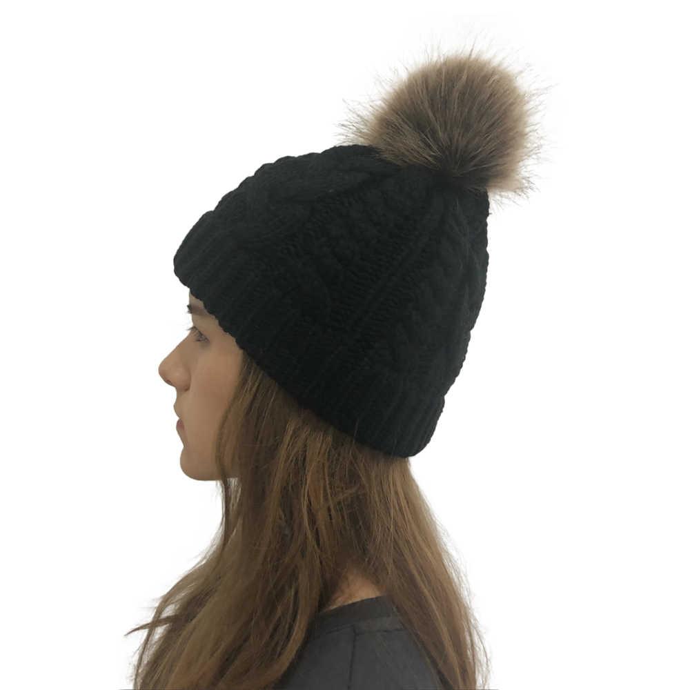 MoneRffi Hat Ladies Braid Hair Ball Wool Hat Autumn And Winter Twist Knitting  Warm  Hats Knit Crochet Caps Faux Beanie