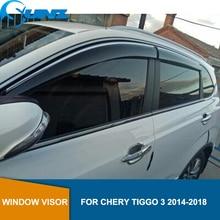 Smoke Car Side Window Deflectors For CHERY Tiggo 3 2014 2015 2016 2017 2018 Sun Shade Awnings Shelters Guards accessories SUNZ