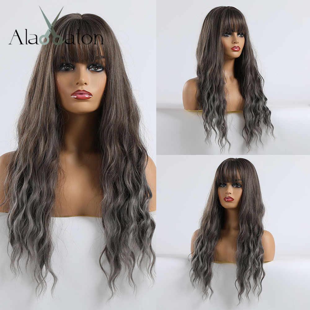 ALAN EATON uzun dalgalı peruk siyah kadınlar için afrika amerikan sentetik saç Ombre siyah kahverengi gri kül mavisi kahküllü peruk Cosplay