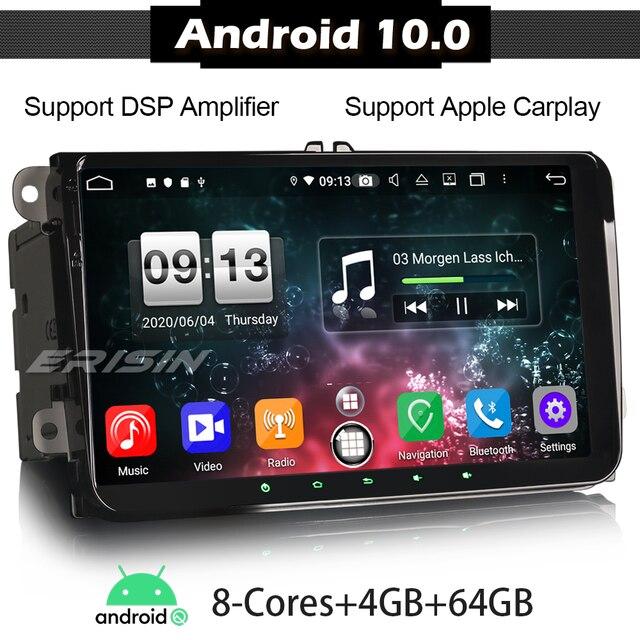 ERISIN 8791 Android 10.0 TPMS WIFI GPS Satnav CarPlay DSP 8 CoreรถสเตอริโอAutoradioสำหรับVW Golf 5 6 touran T5 Touran Skoda