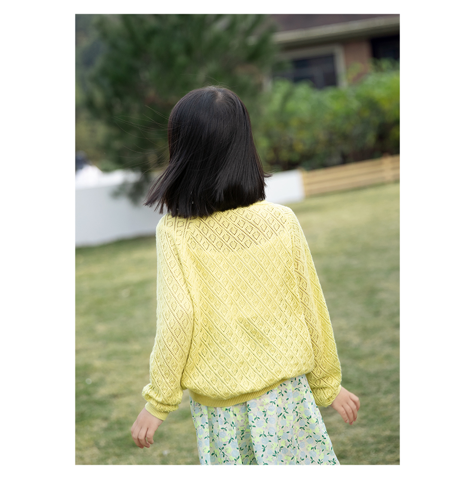 Vdual Ulzzang Girls Elegant School Girl Knitted Cardigan White Lining Button Down Long Sleeves Coat