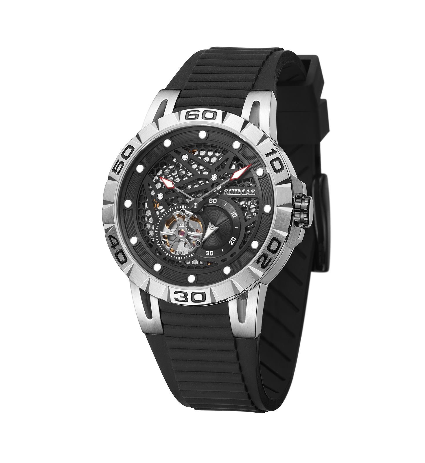 Men Watch Top Brand Luxury 2019 Ruimas Mechanical Wristwatch Rubber Strap Sport Chronograph Dial Clock Reloj Hombre 6772