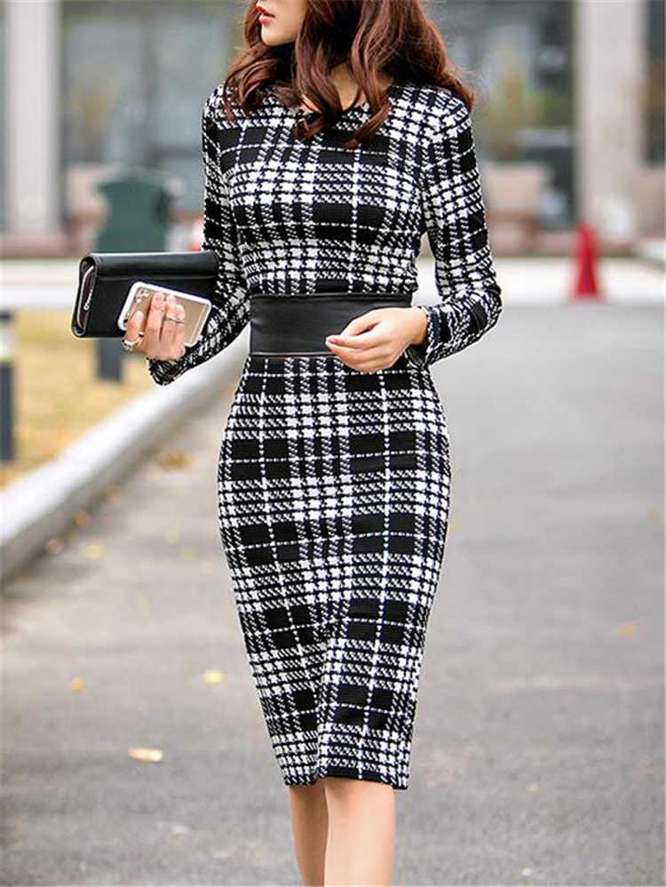 Women's Office Dress Office Lady Plaid Bodycon Dress Long Sleeve Work Business  Midi Dress Women 5xl Plus Size Women Dresses