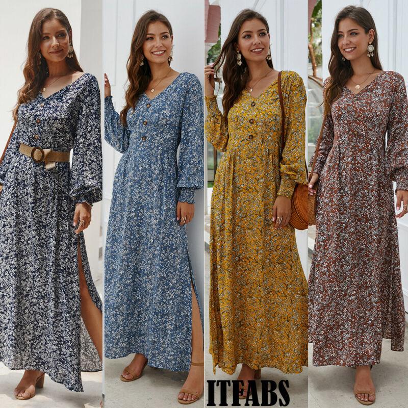 Women Pleated Long Lantern Sleeve V-Neck Floral Printing Boho Casual Long Maxi Dress
