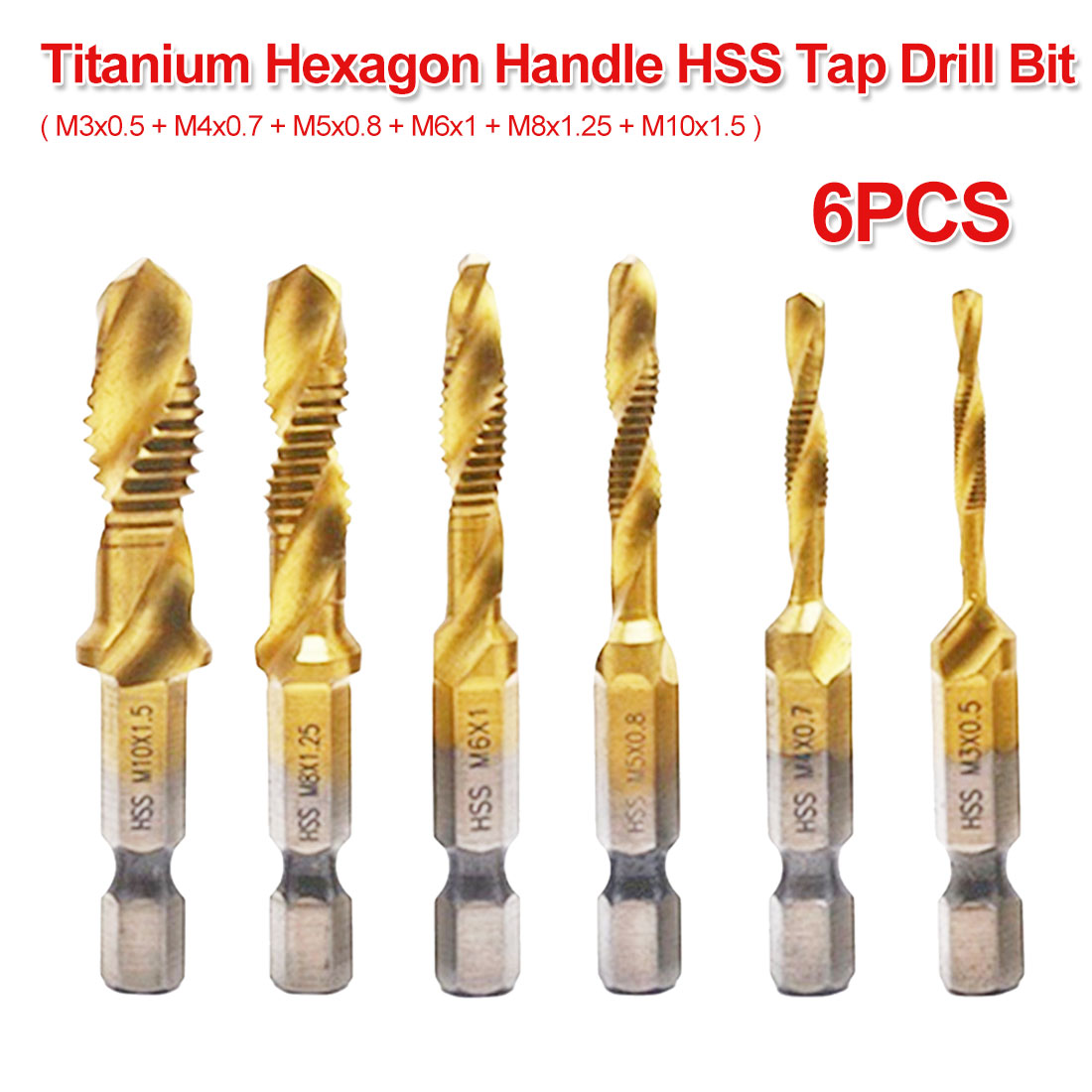 6pcs Twist Drill Bit Set 1/4 Hex Shank M3 M4 M5 M6 M8 M10 Titanium Coated HSS Drilling Tap Bit Thread Screw Tool For Soft Metal