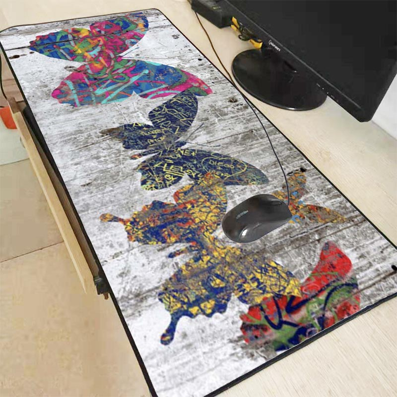 Mairuige Beautiful Butterfly on Wood  Gaming Lock Edge Large Waterproof Mousepad Desk Mat Size for 30x80cm 40x90cm Free Shipping