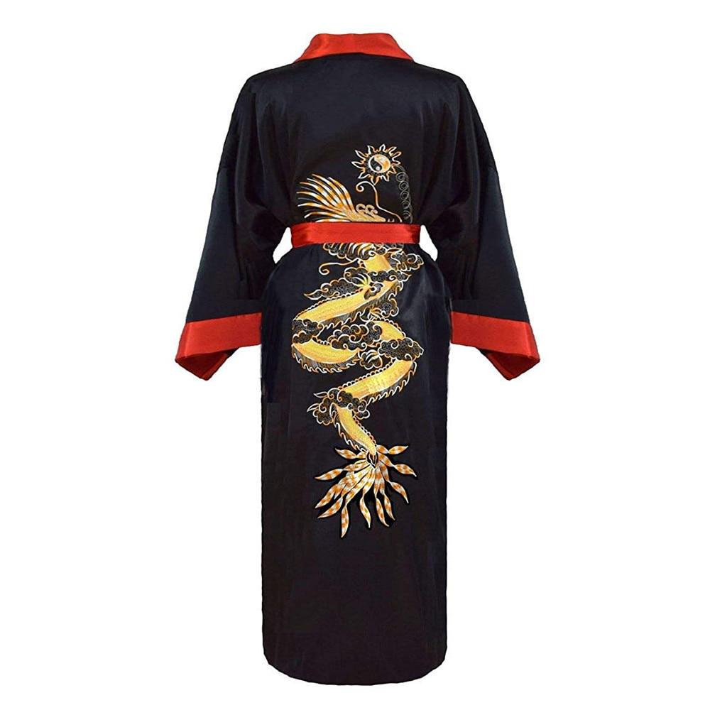 Luxury Men's Kimono Bathrobe Gown Robe Reversible Sleepwear Home Clothing Dragon Embroidery Nightgown Women Dressing Gown