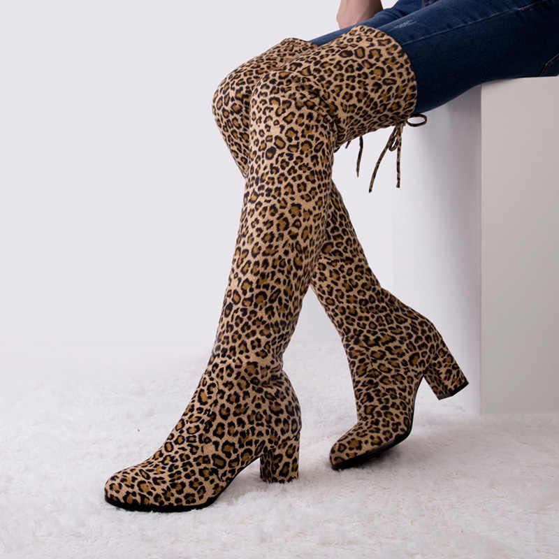 LAKESHI เซ็กซี่ต้นขาสูงรองเท้าบู๊ตเข่าผู้หญิงรองเท้าบูทสูงรองเท้าบูทยาวหญิงฤดูหนาวรองเท้าผู้หญิง leopard Suede รองเท้าส้นสูง