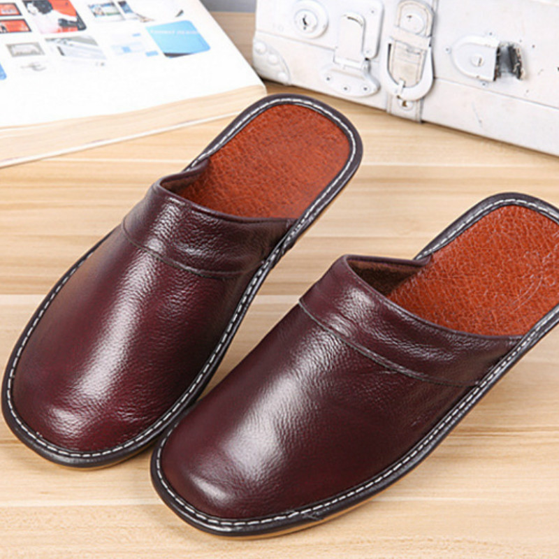 Dropshipping Men Mntrerm New Slippers Luxury Spring Home Slippers Cow Leather Indoor Slides Flip Flops Flat Shoes For Summer