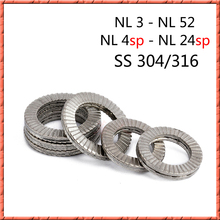 2-50pcs DIN25201 Stainless steel NL3-NL52/4-24SP 3/8 two fold self locking nord lock Combination washer Anti-return lock washer friends f12 stainless steel combination lock silver