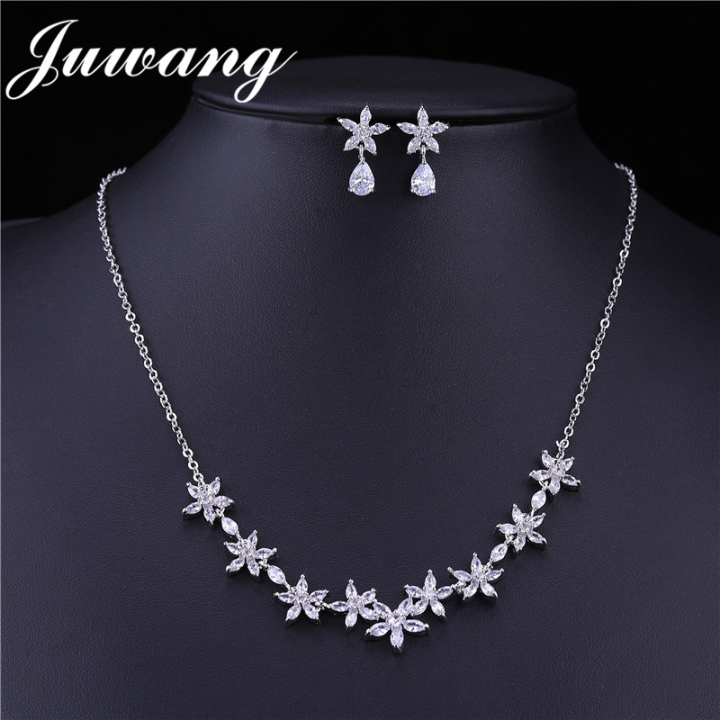 JUWANG Bridal Necklace Wedding Cubic-Zirconia Luxury Joyeria Acero Flower Inoxidable