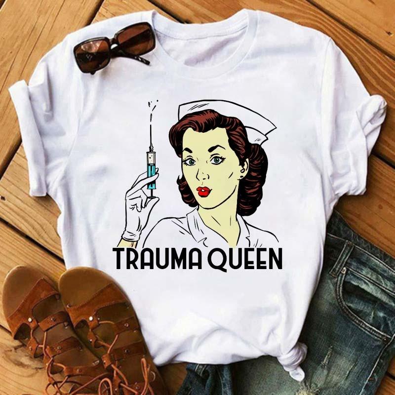 Casual Nurse T Shirt Women T-shirt Trauma Queen Graphic Tees Funny Short-sleeved Cartoon T-shirt Harajuku T-shirt Tops Female
