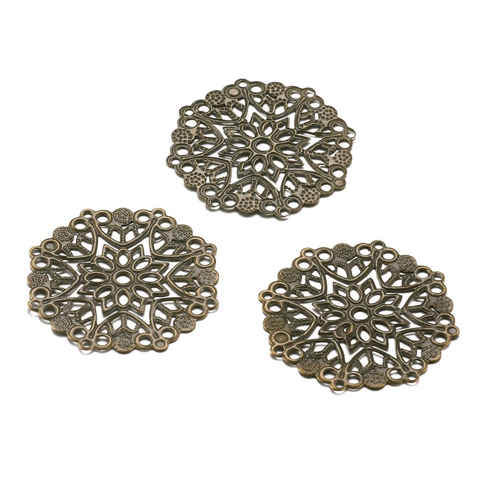 100pcs Iron Filigree Joiners Links Flower Wraps Connectors For DIY Jewelry Making Round Antique Bronze 35.5x0.7mm, Hole: 1.4mm