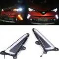 Interruptor de doble Color blanco y ámbar estilo de iluminación LED luces de circulación diurna Kit DRL con señal de giro para Toyota 2018 2019 C HR