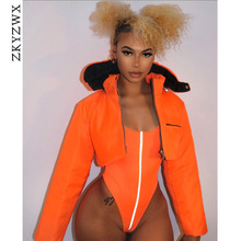 ZKYZWX Reflective Streetwear Neon Orange Bodysuit Summer Beach Swim Suit Womens Overalls Sexy Party