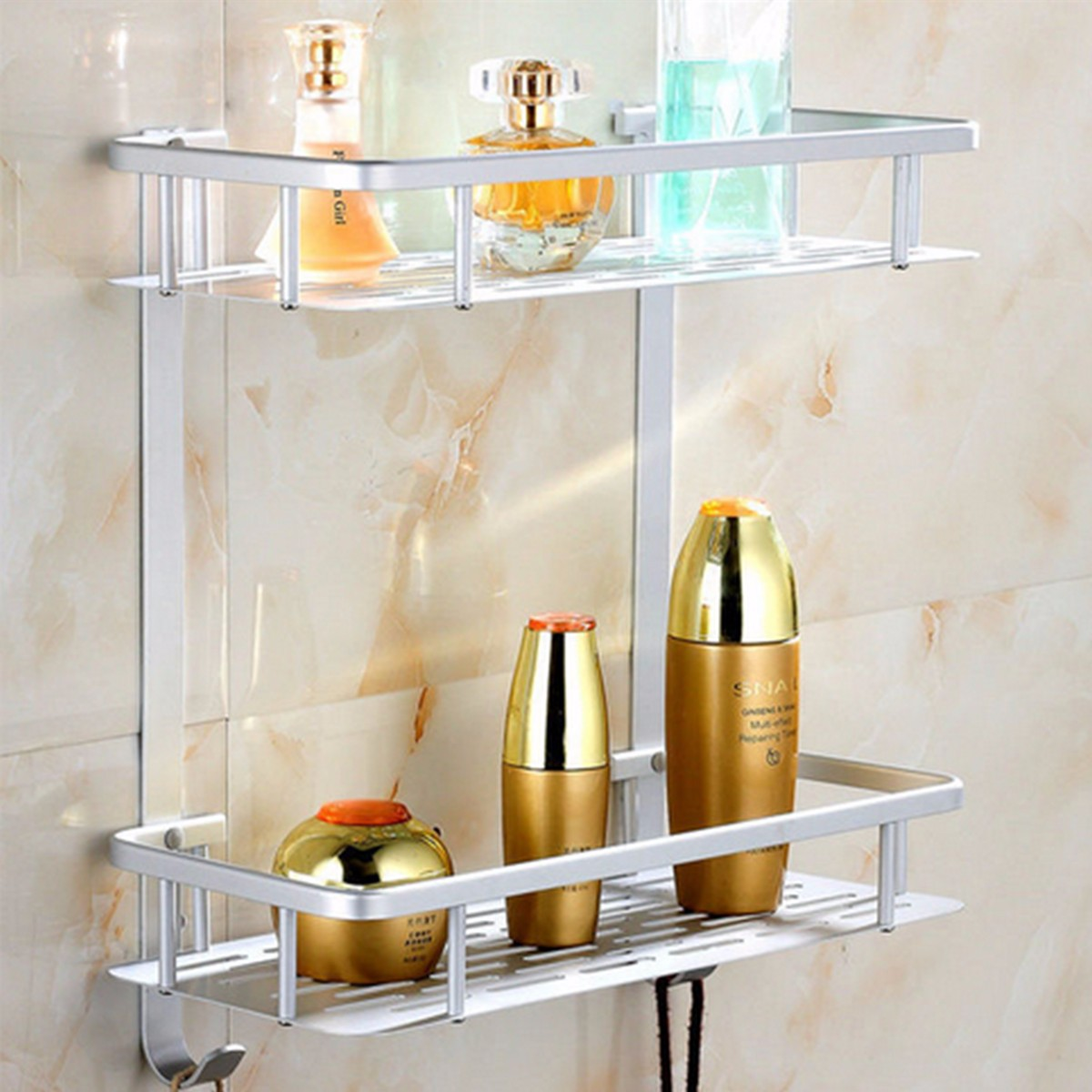 1/2/3 Tiers Aluminium Bathroom Shower Bath Holder Multifunctional Alumimum Shelf Bathroom Rack Utility Storage Organizer Holder