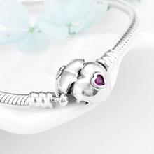 Alta qualidade 925 prata esterlina rosa zircão coração feminino pulseira moda cobra osso corrente jóias dia dos namorados