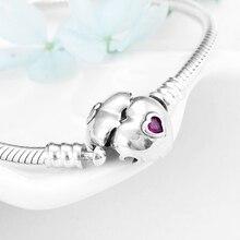 Yüksek kalite 925 ayar gümüş pembe zirkon kalp kadınlar bilezik moda yılan kemik zinciri takı sevgililer günü