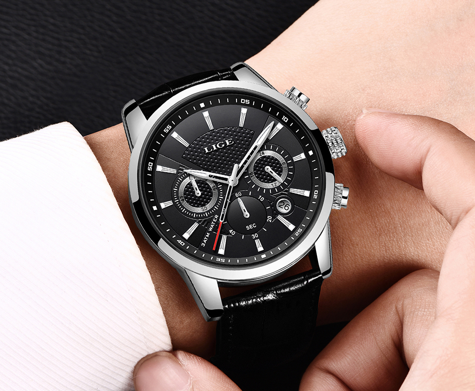 H67255cec376e4c338a1032162b34c6141 LIGE New Men Watch Top Brand Blue Leather Chronograph Waterproof Sport Automatic Date Quartz Watches For Mens Relogio Masculino