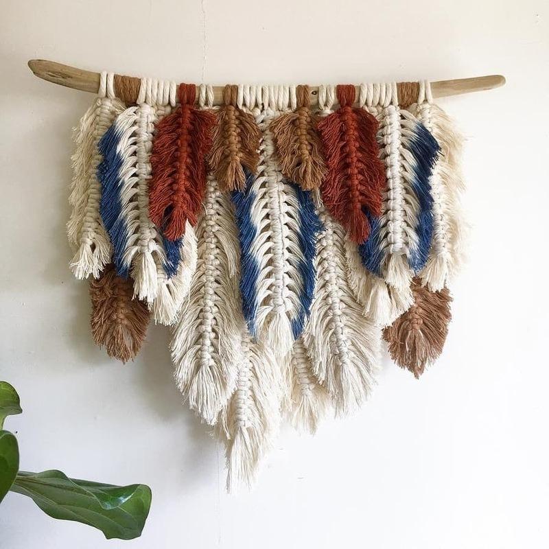 Tapestry Wall Hanging Handmade Fringed Feathers Tapestry Boho Decor Ethnic Style Macrame Wall Hangings B&B Headboard Decor
