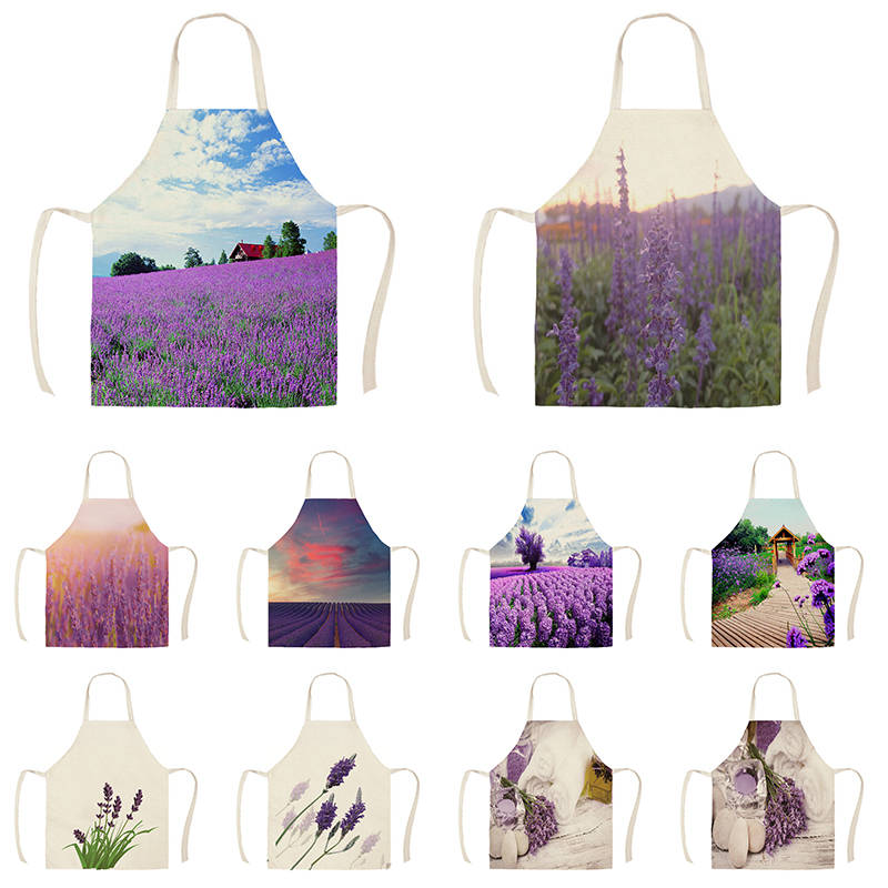 Linen Lavender Lover Print Kitchen Aprons Unisex Dinner Party Cooking Bib Funny Pinafore Cleaning Apron WQG697