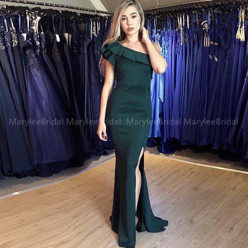 One Shoulder Dark Green Side Split Evening Dress Ruffles One Shoulder Mermaid Long Formal Party Dress For Women Vestido De Festa