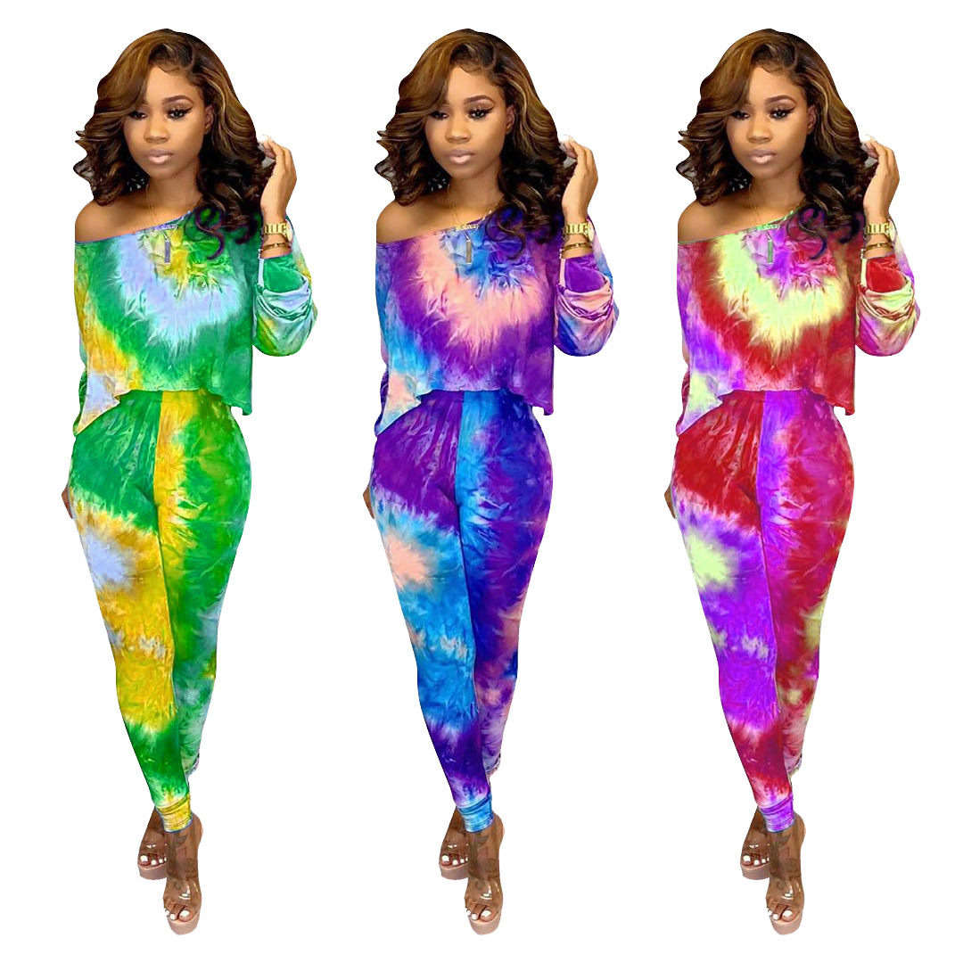 Autumn New Tie Dye Galaxy Print Women Set Long-sleeved T-shirt Pencil Pants Suit Two Piece Set Sports Tracksuit 3 Colors