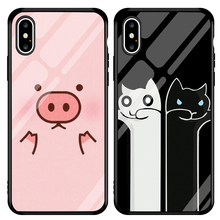 Jamular Cute black and white cat pig pattern Tempered Glass Case For 7 Plus 8 X XR 6 6s XS MAX Cartoon Cover