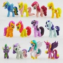 12 pcs set 3 5cm My little pony PVC Rainbow horse cute little horse action font