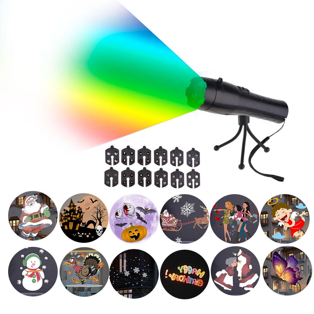 2 In 1 Outdoor Flashlight Creative 12-Film Projector Lamp Holiday Light Children's Toys Party Decor Gadgets