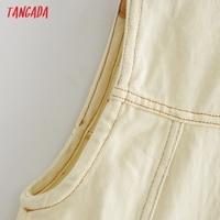 Tangada Women Solid Denim Short Dress Pocket Sleeveless 2021 Fashion Lady Elegant Dresses Vestido YI10 3
