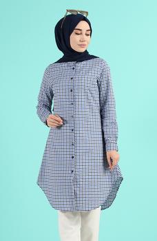 Minahill Indigo tunika moda muzułmańska islamska odzież skromne topy arabska odzież długa tunika dla kobiet 2518-02 tanie i dobre opinie TR (pochodzenie) tops Aplikacje Bluzki i koszule Octan Dla dorosłych