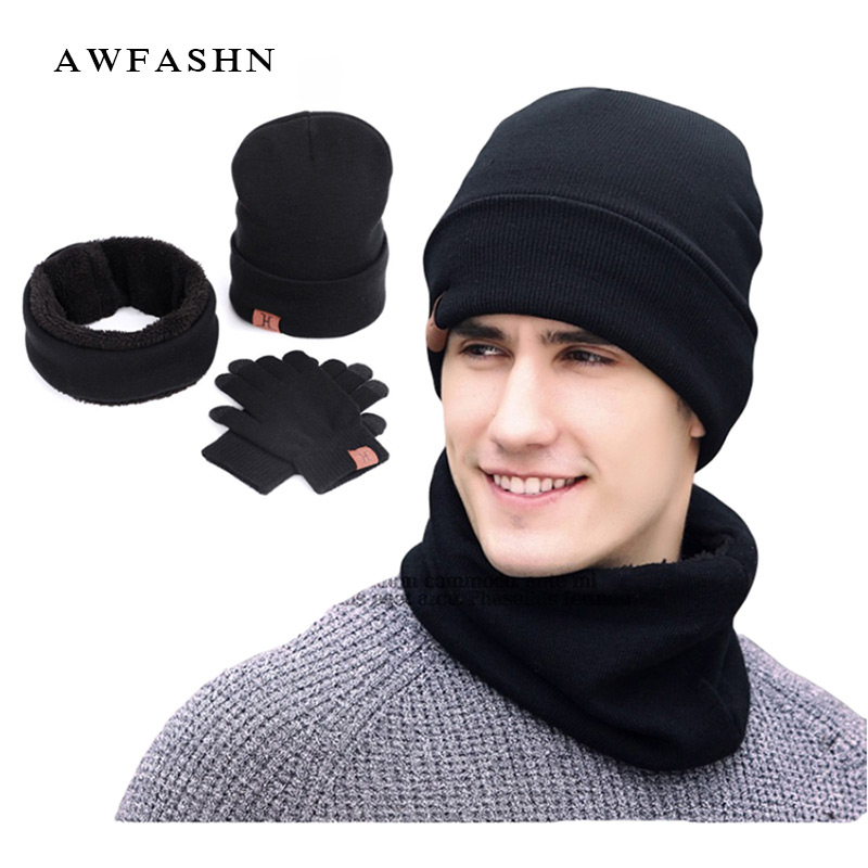 2019 New Winter  Solid Knit Beanie Scarf Touch Screen Gloves 3 Pieces Set  Women Men Warm Hat  Thick Lining Plus Velvet Soft Cap