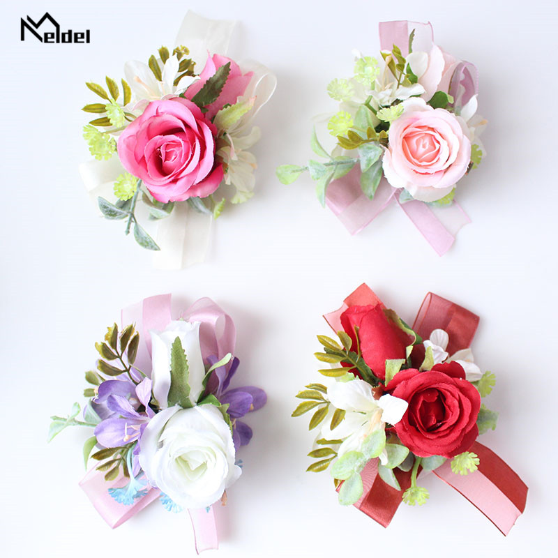 Meldel Silk Flowers Corsage Bracelet Bridesmaids Artificial Flowers Wedding Groom Boutonnieres Wedding Marriage Corsage Brooches