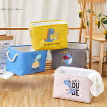 Novo bonito dobrável caixa de armazenamento com dinossauro bordado animal brinquedo armazenamento caixas cubo cesta organizador para crianças quarto do bebê berçário