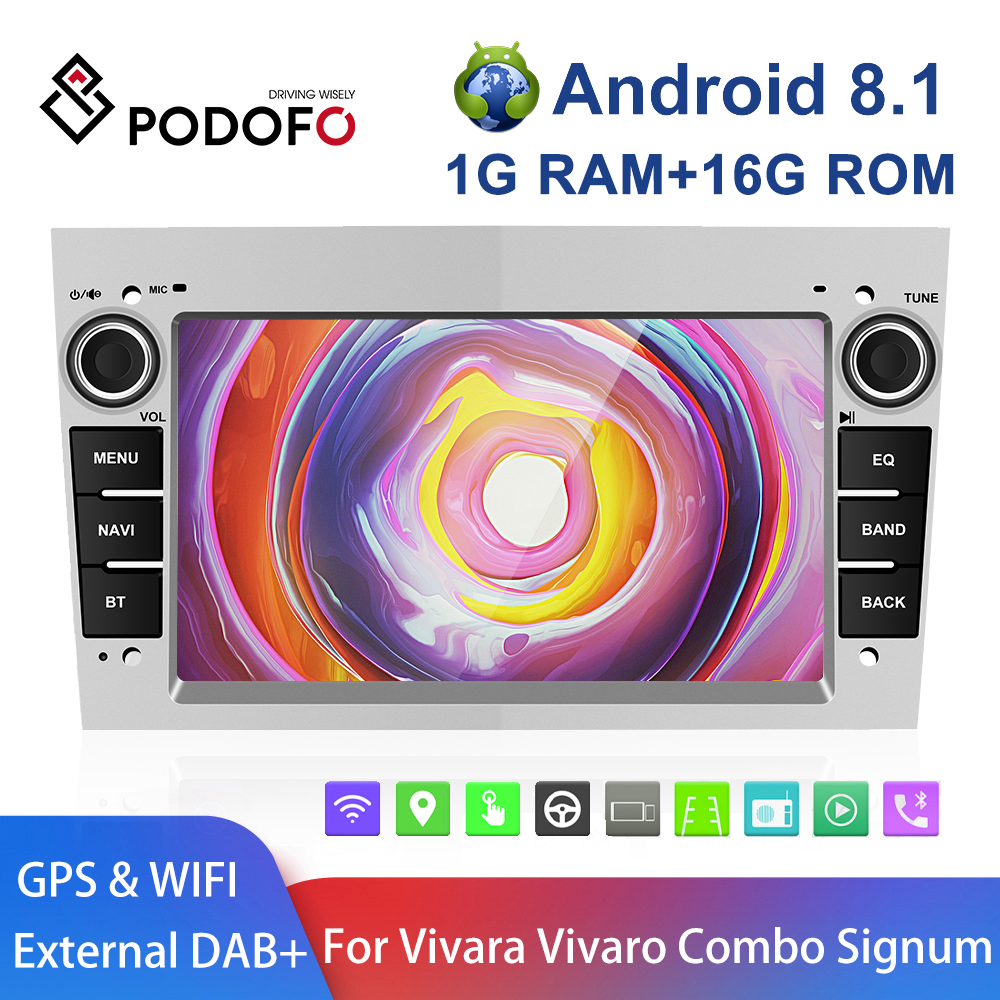 Podofo 2 Din Android 8.1 Car Radio GPS OBD For Astra Antara Vectra Corsa Zafira Meriva vivara Vivaro Combo Signum Tigra Twin Top