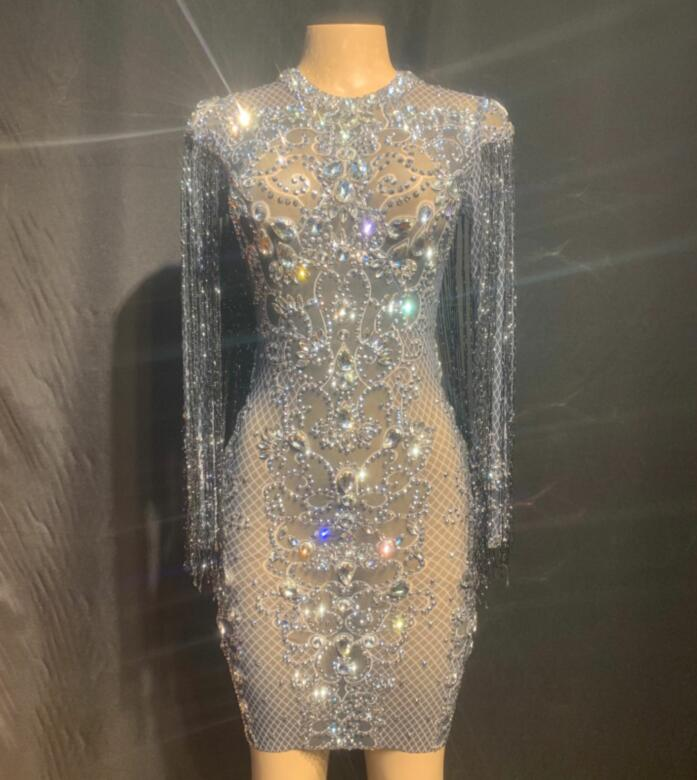 Fashion Silver Rhinestones Black Fringes See Through Dress Birthday Celebrate Dress Prom Outfit Bar Women Dance Dress YOUDU