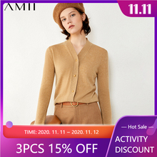 Winter Cardigans Women's Sweater 100%Cashmere Amii Minimalism Solid for Fashion Solid-Single-Breasted