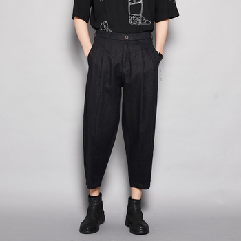 EWQ / men's wear japanese style black causal pants 2020 fashion Harem pants loose ankle-length pants tide wide leg pants 9Y2017
